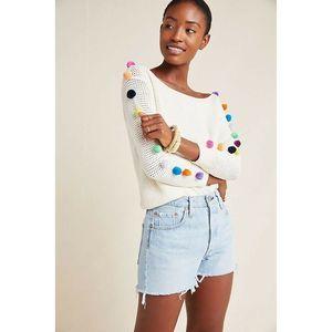 Anthro EMILIA POMMED Ivory Multicolor Sweater